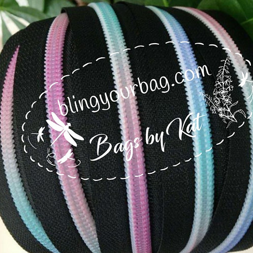 Black Pastel Rainbow Nylon Zipper Tape (5 yards)