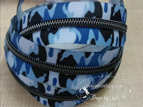 Camo Blue #5 Nylon Zipper Tape