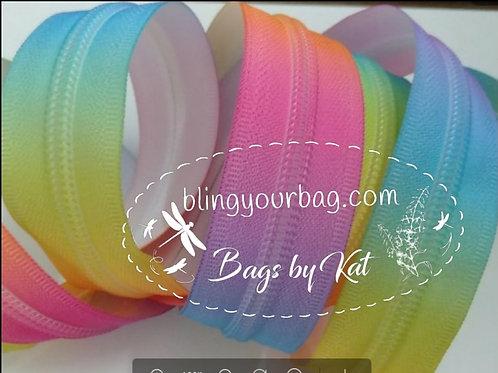 Colorful Pastel Rainbow #3 Nylon Zipper Tape (5 yards)