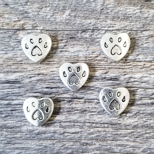 Heart Paw Spacer Charm (5)