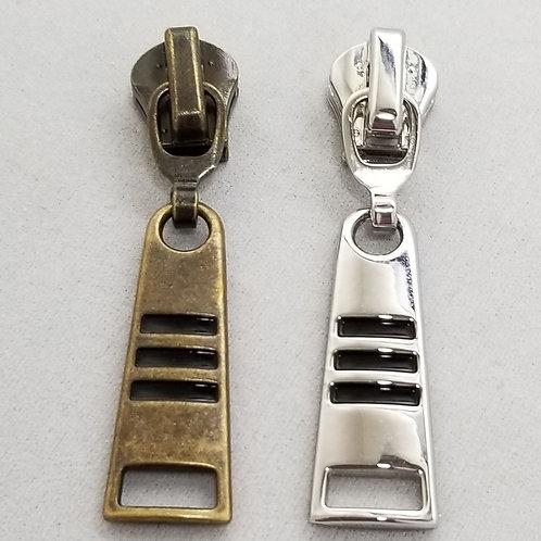 Black Lines Metal Zipper Pull (10)
