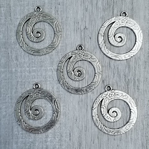 Silver Wave Charms (5)