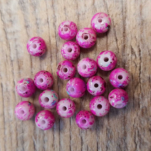 Dark Pink Speckle Glass Beads