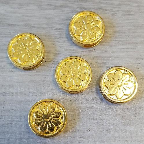 10 mm Antique Gold Flower Slider (5)