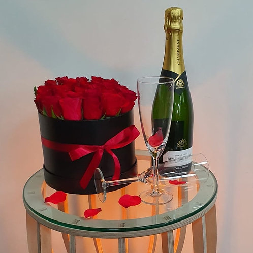 Large Red rose hat box & Champagne
