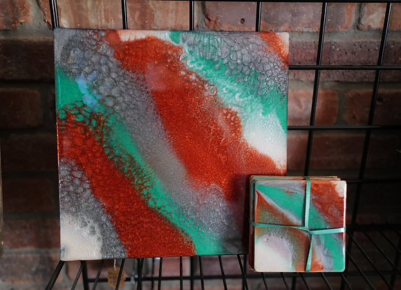 Kathy Fyfe Artwork: Green and Copper Marbling