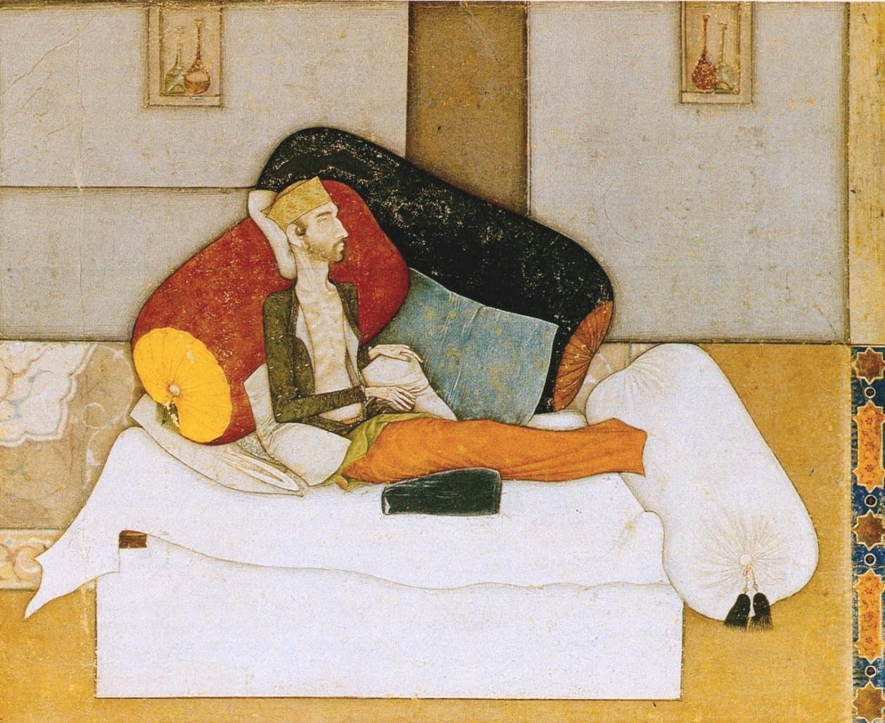 Inayat Khan Dying, ca. 1618, by Balchand. Opaque watercolor on paper, 15 × 12 cm. Bodleian Library, Oxford