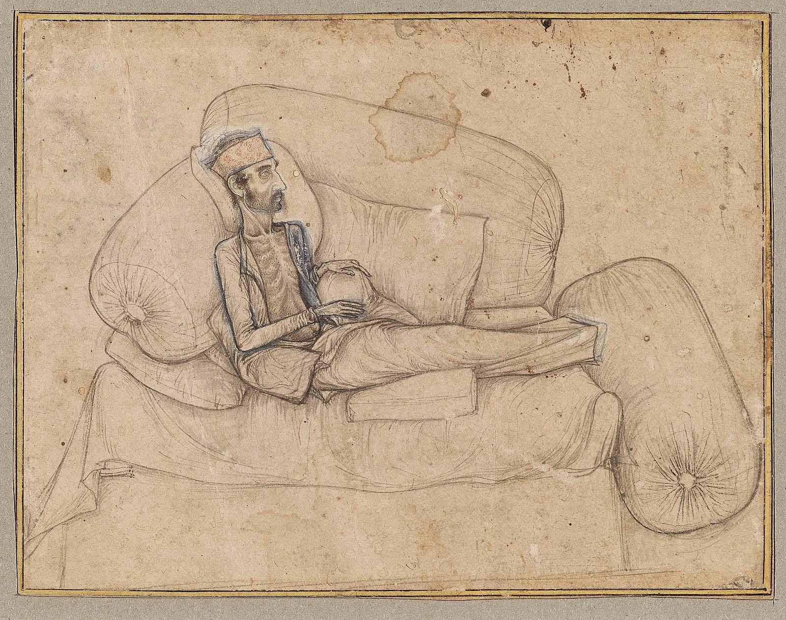 Dying Inayat Khan, ca. 1618–19, by Balchand. Ink and light wash on paper, 10.3 × 13.3 cm. Museum of Fine Arts, Boston, Bartlett Collection—Museum purchase with funds from the Francis Bartlett Donation of 1912 and Picture Fund