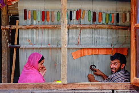 Carpet weaving, Tarik Ahmad and Shakila,