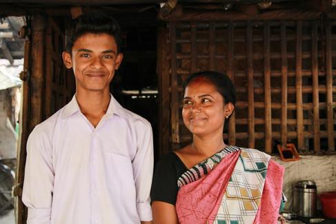 Dipankar(class 9th) with mom Durga Sarka