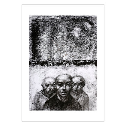 Three Men in a Barren Landscape | Elmer Borlongan