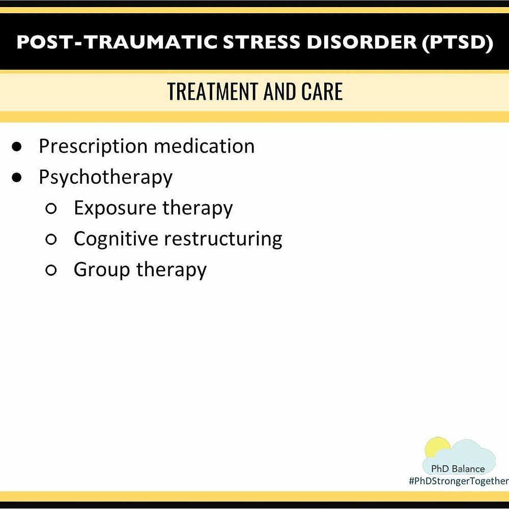 Graphic - Post Traumatic Stress Disorder (PTSD) Treatment and Care. All text in post.