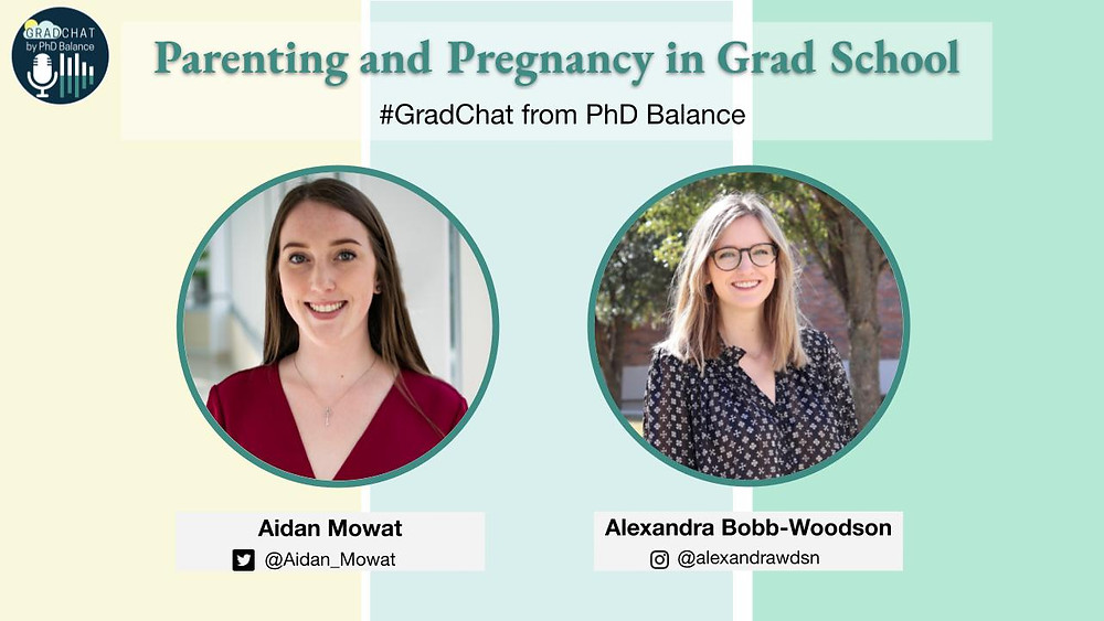 Promotional Graphic text reads Parenting and Pregnancy in Grad School, Grad Chat from PhD Balance. There are two headshots one of Aidan, the host & one of Allie, the guest.