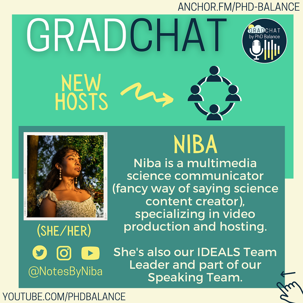 Graphic introducing Niba, there is a headshot of Niba. All text in post.