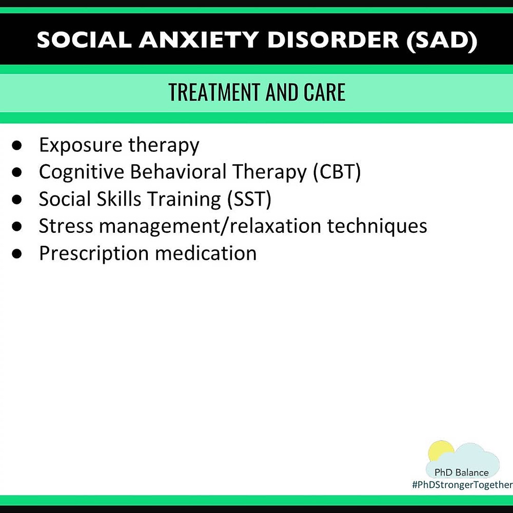 Social Anxiety Disorder Treatment and Care. All text in post.