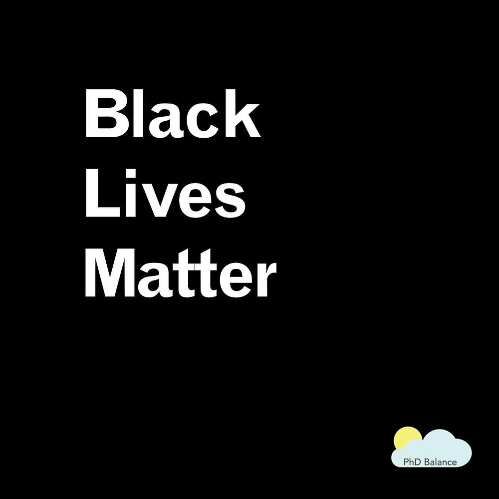A black square with black lives matters written on it.