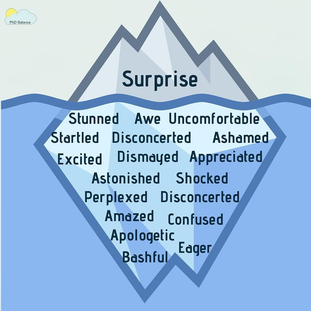 "A graphic of a cartoon iceberg that is mostly below the water. On the iceberg above the water it says ""Surprise"", and below the water on the iceberg are the many emotions that come under calm: Stunned, Awe, Uncomfortable, startled, disconcerted, ashamed, excited, dismayed, appreciated, astonished, shocked, perplexed, disconcerted, amazed, confused, apologetic, bashful and eager."