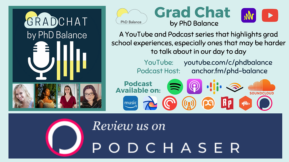 Graphic promoting Grad Chat by PhD Balance. On the left hand side there is a headshot of each host and the Grad Chat logo. On the right side there is a description of the podcast, all text in post and the link to PhD Balance YouTube channel (youtube.com/c/phdbalance) and the Podcast host (Anchor.fm/phd-balance). There is also the logos of platforms the podcast is available on: Spotify, Apple and Google Podcasts, Audible, SoundCloud, Amazon Music, Breaker, Overcast, Podcast Addict, Pocket Casts, RadioPublic, Castbox and Podchaser. A banner along the bottom of the graphic reads Review Us on Podchaser