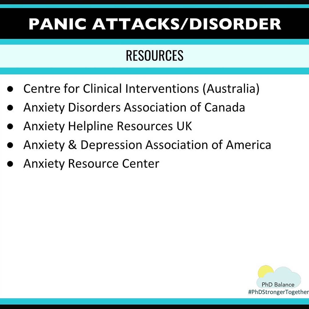 Panic Attacks/Disorder Resources. All text in post.