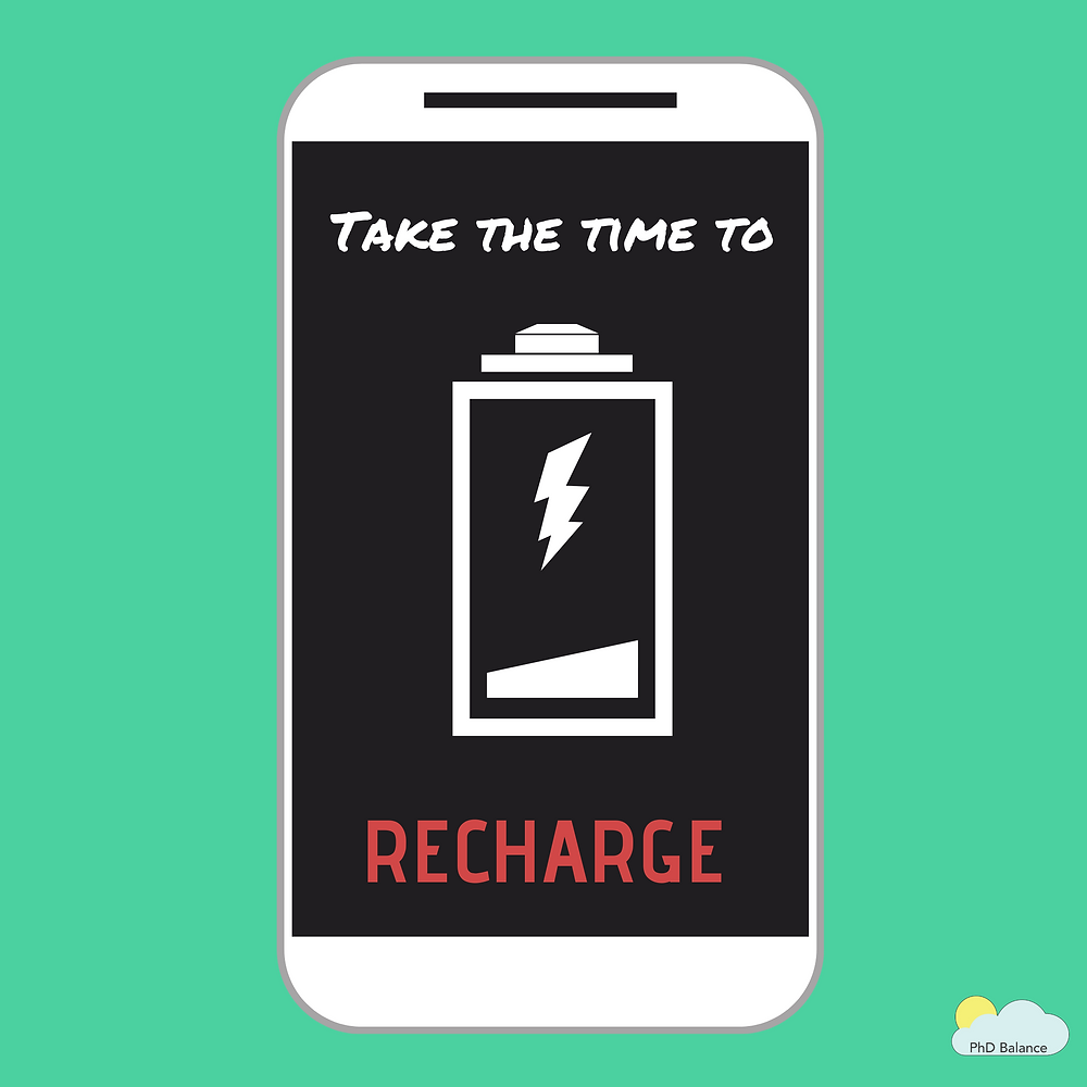 """The image has a teal background with a cartoon cellphone. On the self phone there is a black screen that reads """"Take the time to RECHARGE"""" with a """"battery empty"""" symbol."""