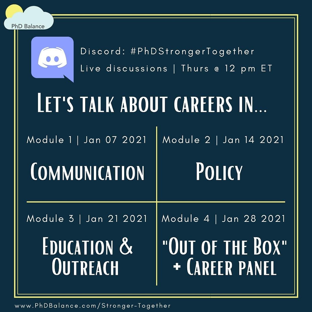 Promotional graphic - text reads Discord #PhDStrongerTogether Live discussions Thursdays at 12pm ET! Let's talk about careers in: Module 1 Jan 7th 2021 Communication, Module 2, Jan 14th 2021 Policy, Module 3, Jan 21st 2021, Education and Outreach and module 4, jan 28th 2021 Out of the box and career panel