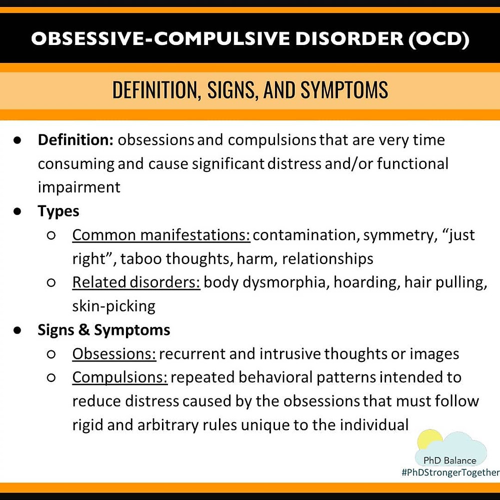 Graphic - Obsessive-Compulsive Disorder (OCD) Definition, signs and Symptoms. All text in post.