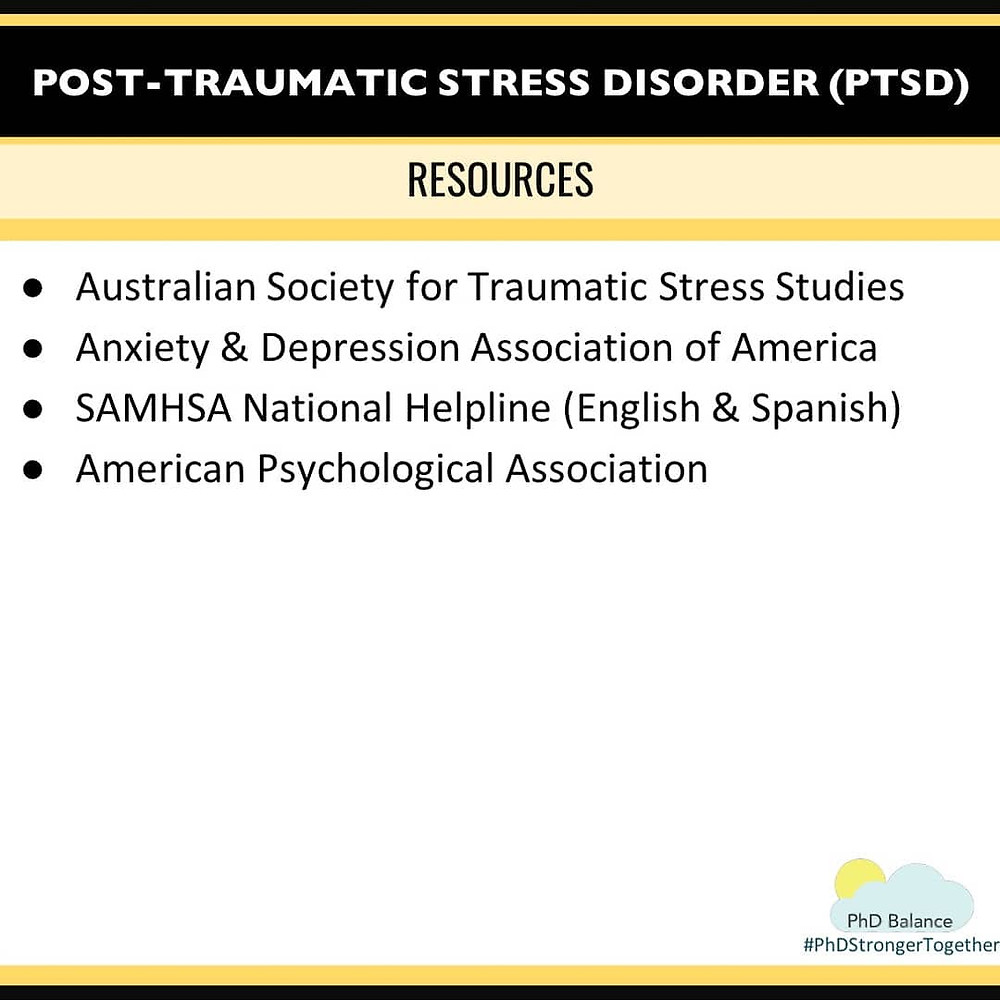 Graphic - Post Traumatic Stress Disorder (PTSD) Resources. All text in post.