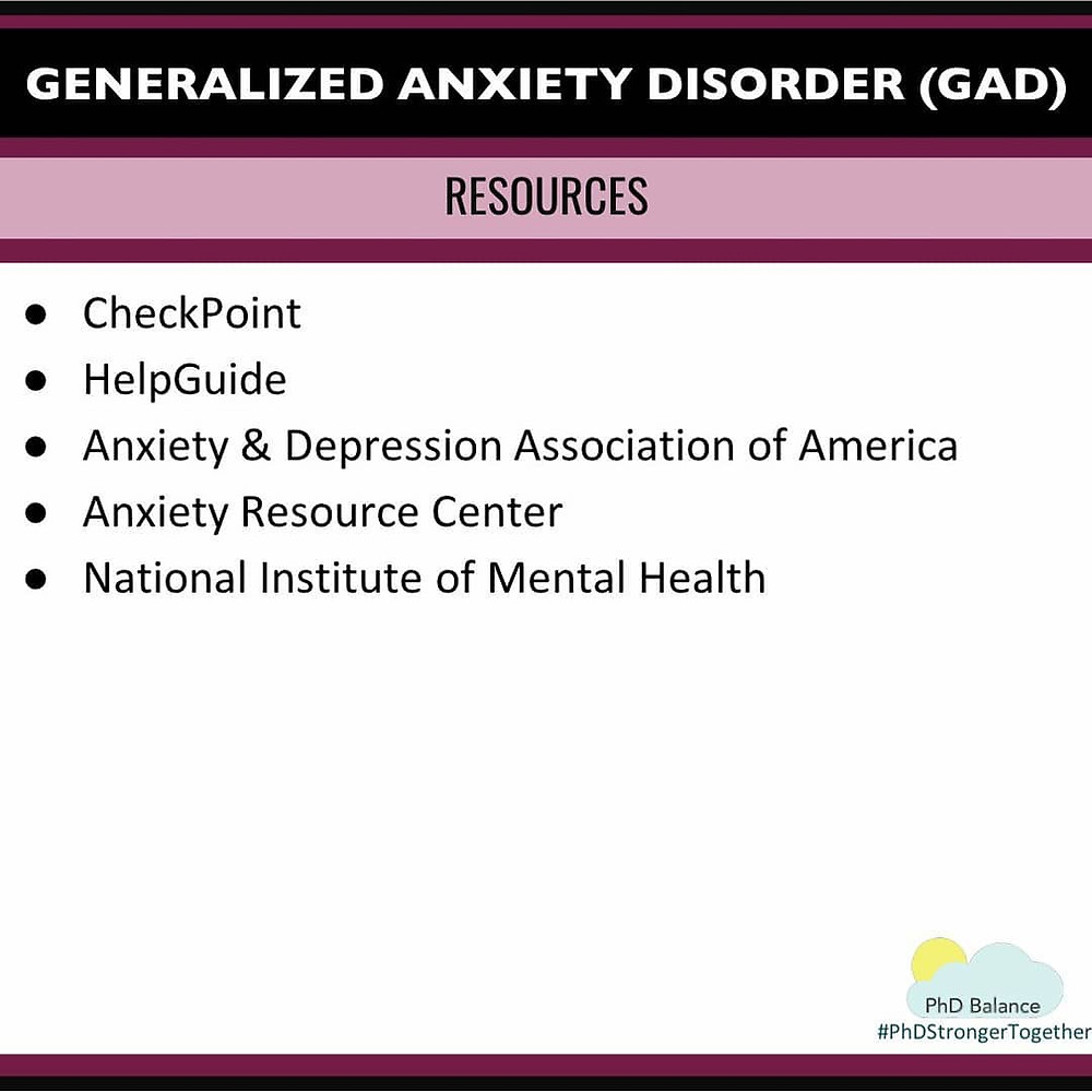 Generalized Anxiety Disorder Resources. All text in post.