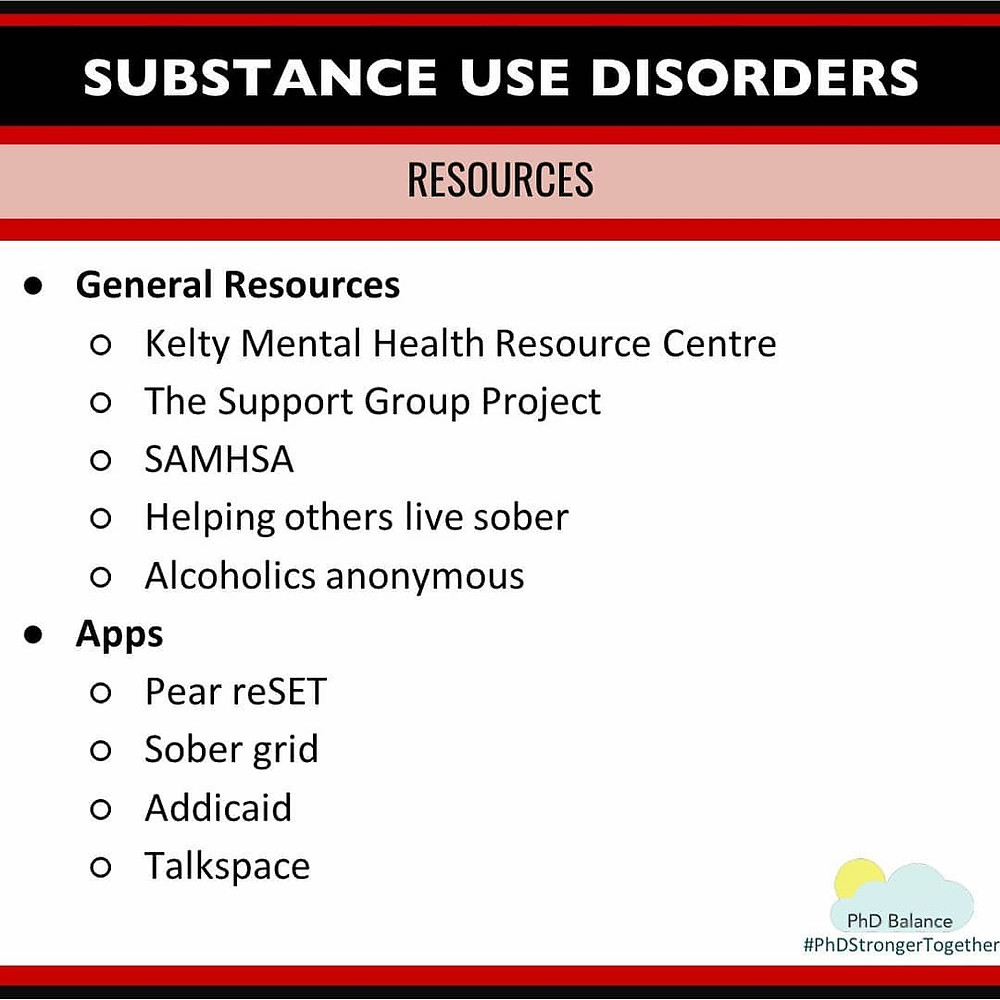 Infographic - Substance Use Disorders Resources. All text in post.