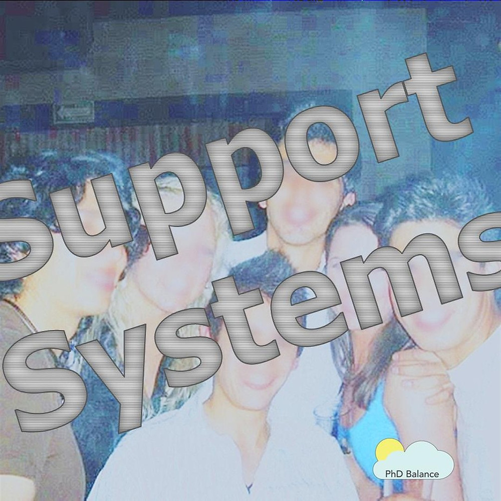 Picture of a group of people but the picture is faded and damaged. The words support systems are written across the picutre.