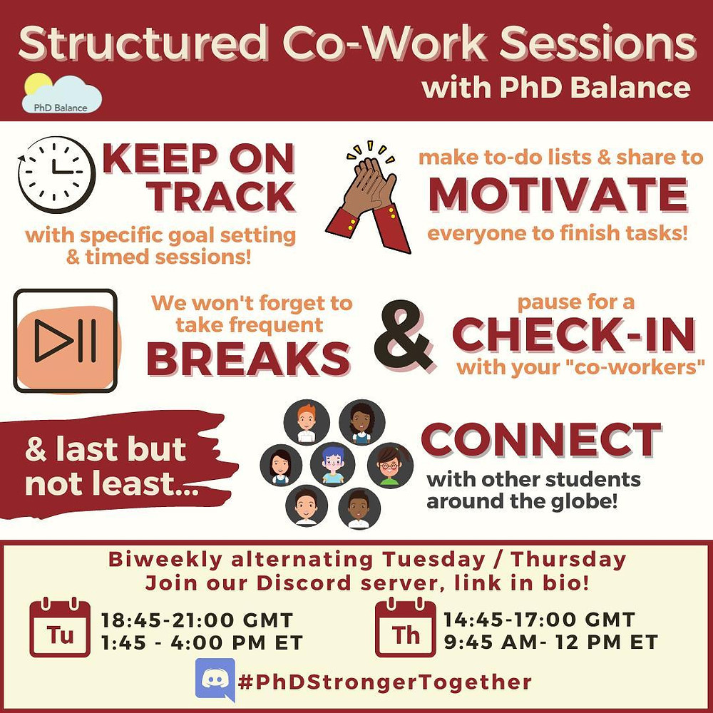 graphic depiction of the information in the caption, including information about what the co-work sessions are and when they are.