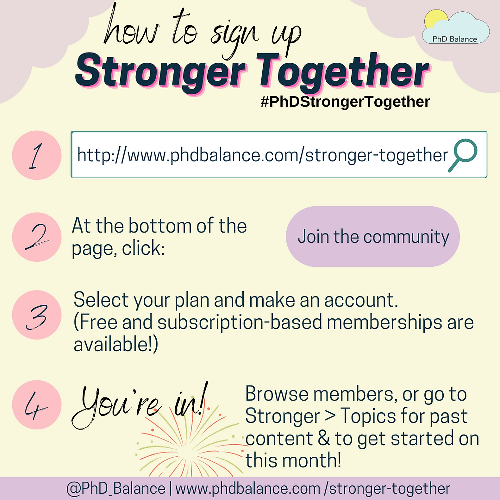 How to sign up to Stronger Together graphic. All text in post.