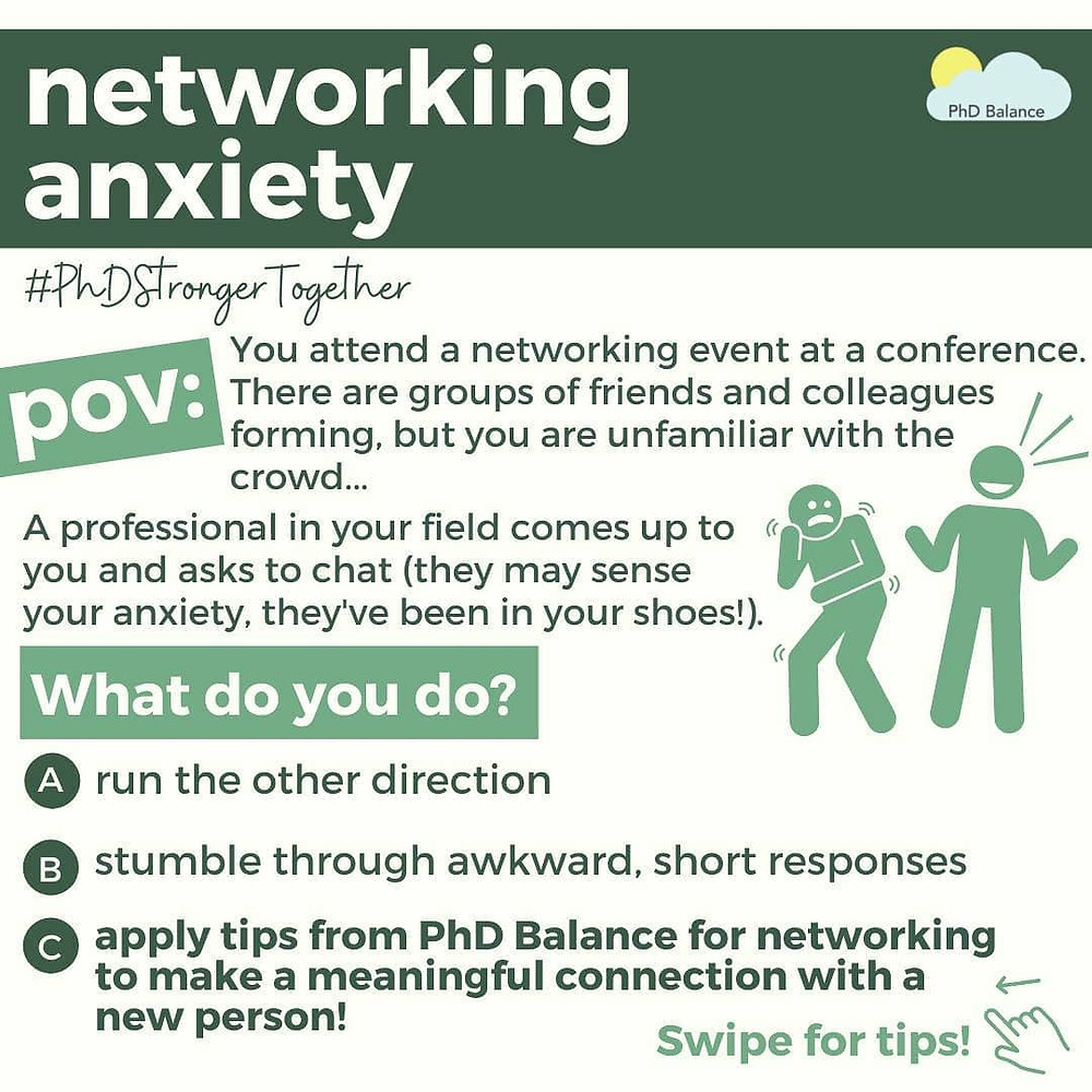 Networking Anxiety Graphic 1 - setting the scene. All text in post.