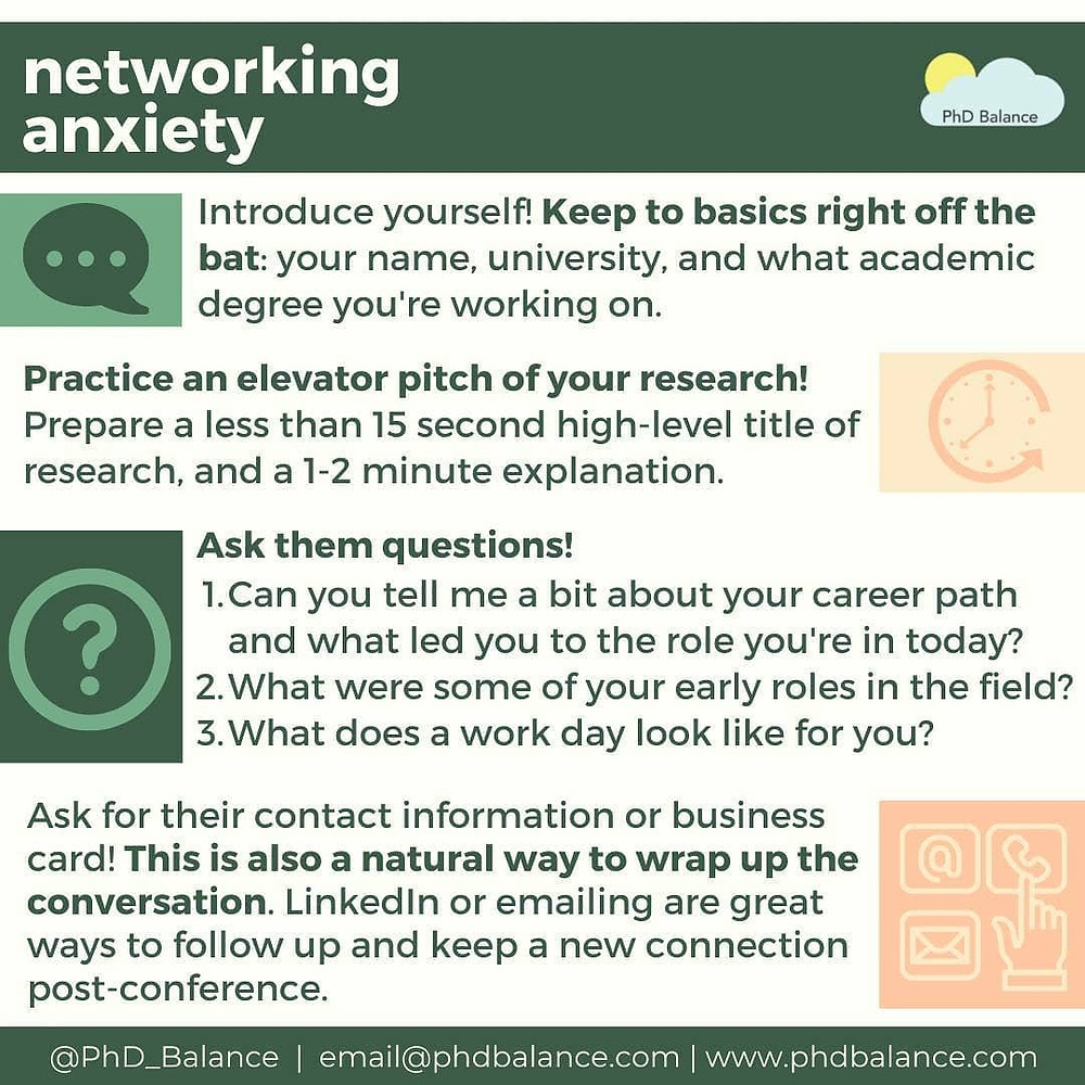 Tips to get over Networking Anxiety. All text in post!