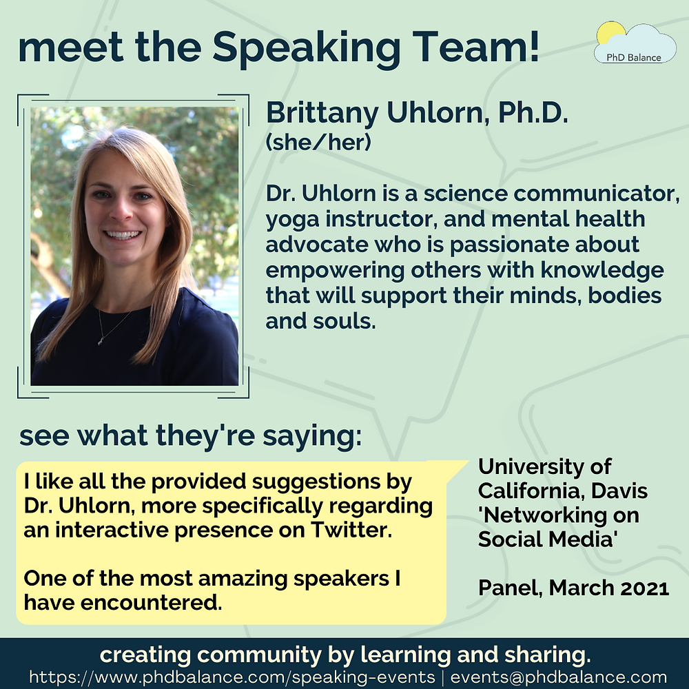 Meet the speaking Team - Dr Brittany Uhlorn graphic, there is a headshot of Brittany smiling and looking at the camera. All text in post.
