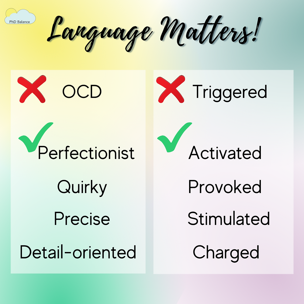 Graphic - text reads Instead of: OCD  Use:  Perfectionist Quirky Precise Detail-oriented   Instead of: Triggered  Use:  Activated Provoked Stimulated Charged