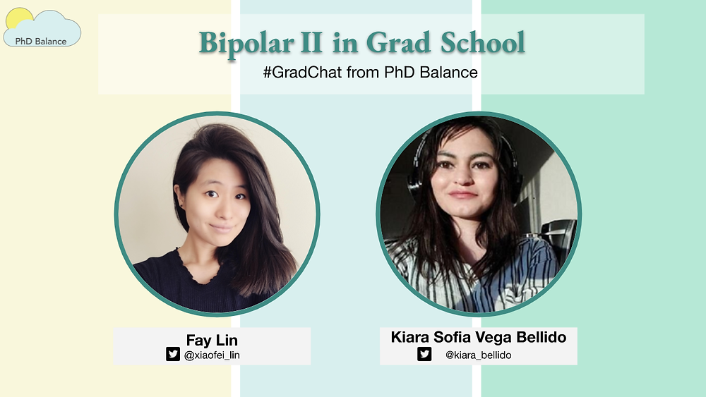 Graphic - text reads Bipolar II in Grad School. Grad Chat by PhD Balance. There are two headshots one of Fay, the host & one of Kiara.