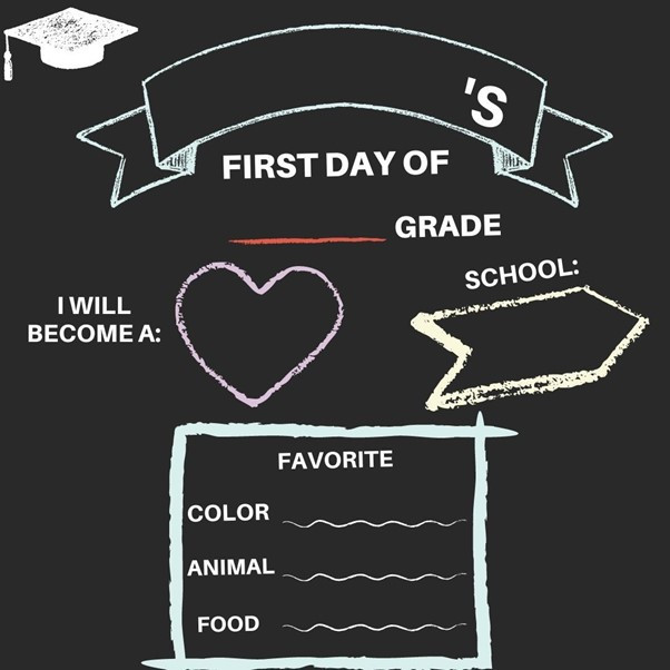 """Graphic of a first day of school black board that include spaces to fill in the person's name, the grade, school, favourite color, animal and food and a space to finish the phrase """"I will become a:"""""""