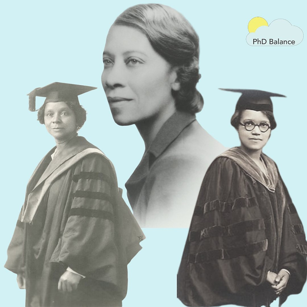 Graphic with pictures of Drs Georgiana Simpson, Sadie Tanner Mossell Alexander and Eva Beatrice Dykes, Simpson and Alexander are wearing academic robes, the picture of Dykes is a side profile shot while she is wearing a blouse.