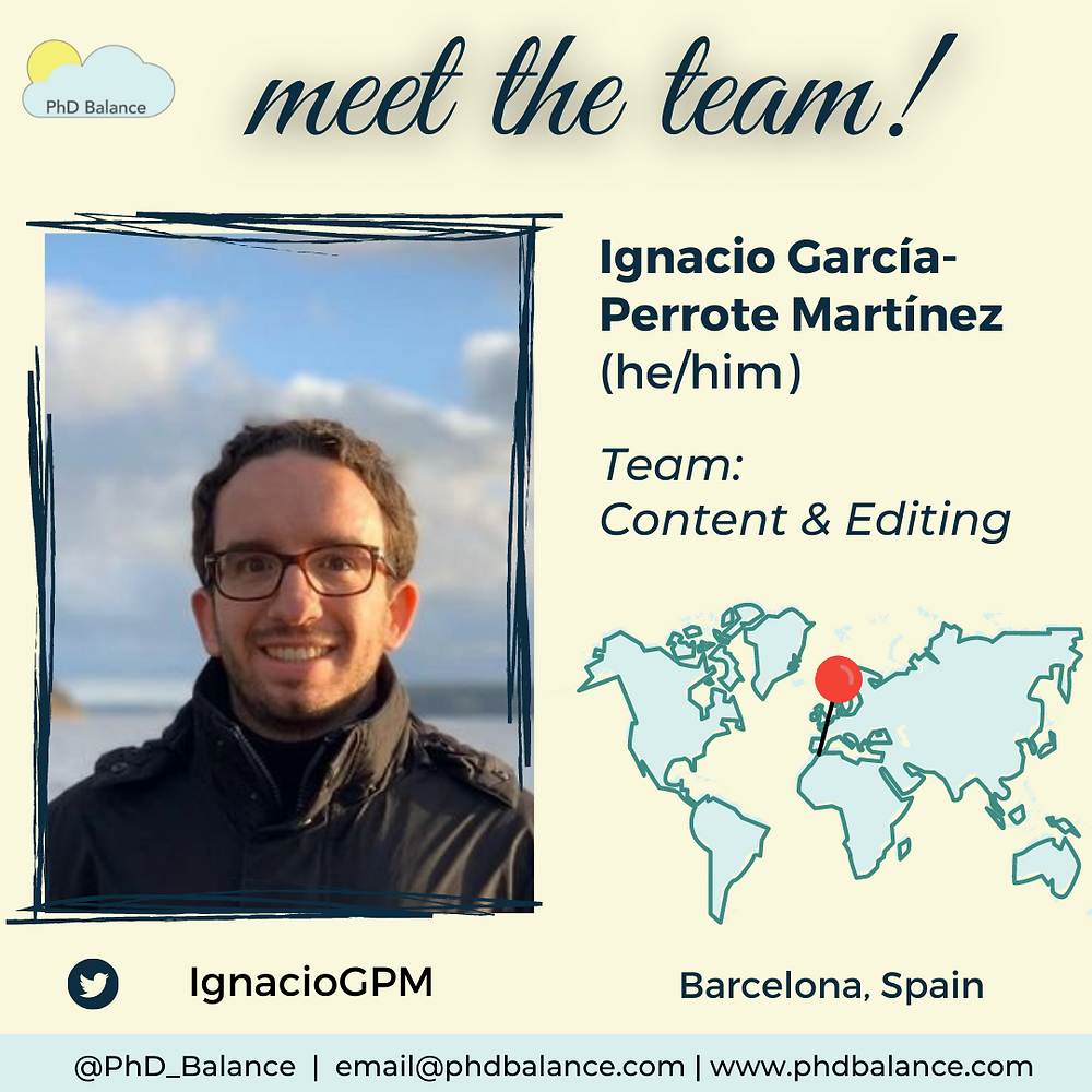 Meet the team light yellow graphic, There is a photo of Ignacio. Text reads Ignacio García-Perrote Martínez (he/him), team content and editing, twitter handle IgnacioGPM. Theres also a map of the world with a red pin pointing to Barcelona, Spain.