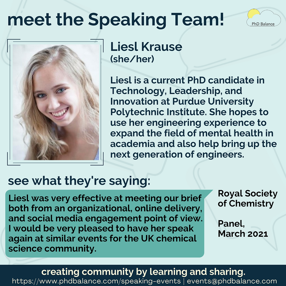 Meet the speaking team graphic - Liesl's bio and headshot are on the graphic, plus the quote from the Royal Society of Chemistry Panel. All text in post.