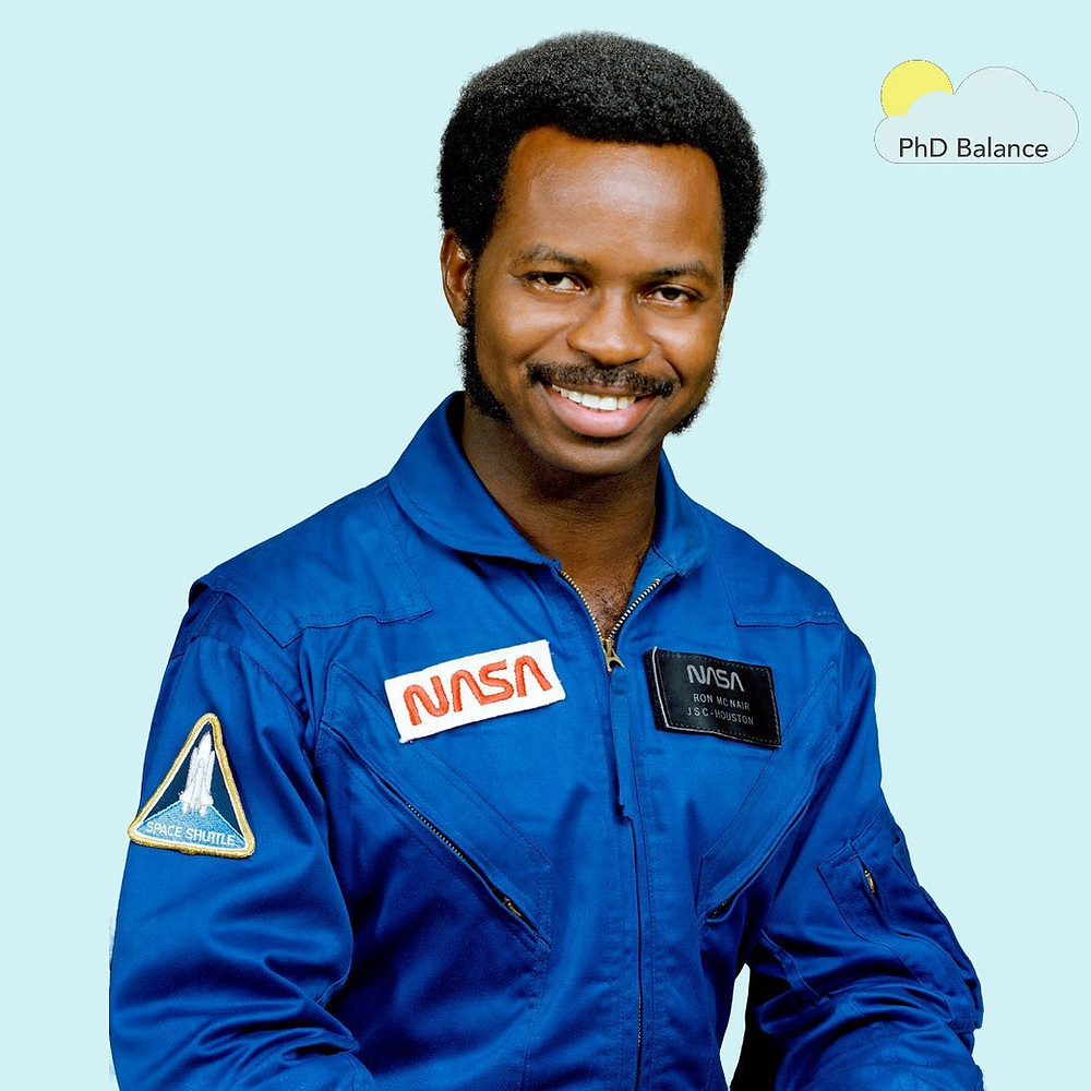 Picture of Ronald McNair in his NASA uniform.