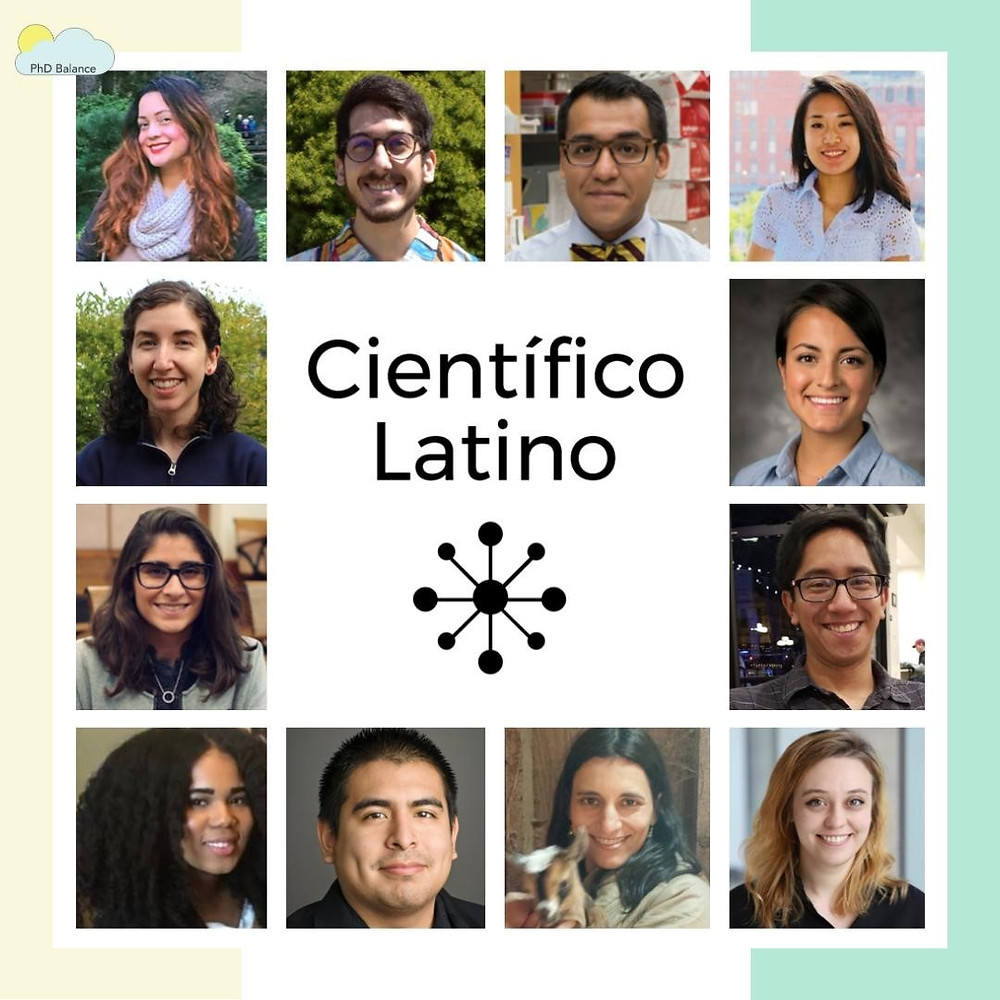 Graphic - the logo of Científico Latino is in the centre of the graphic, outside there is headshots of 12 scientists who work on the graduate student mentorship program (GSMI) that Científico Latino runs.