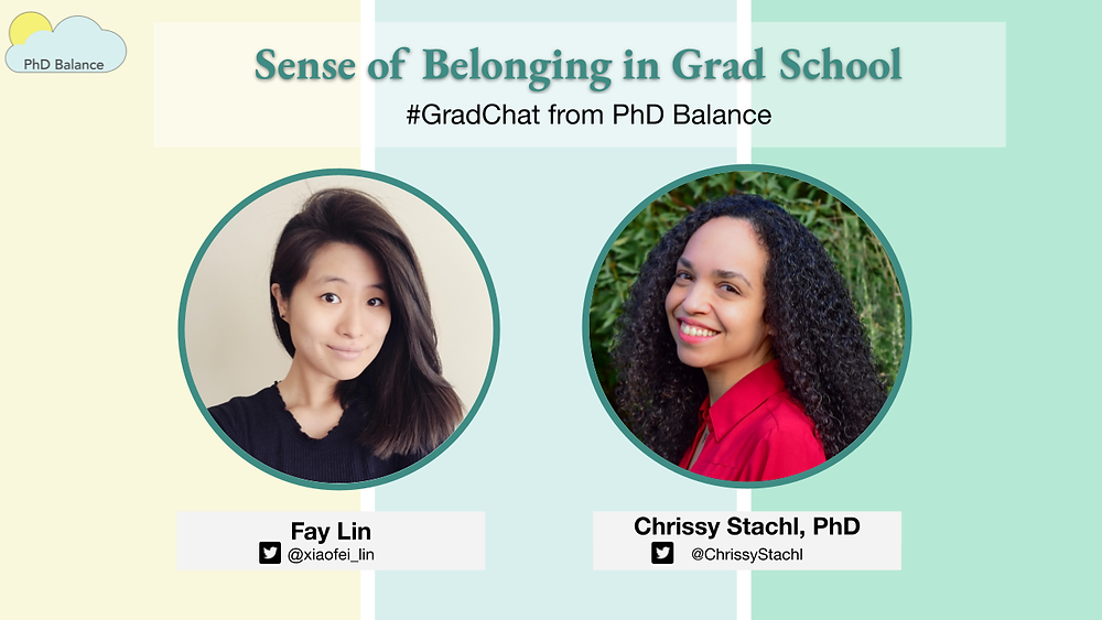 Graphic - text reads Sense of Belonging in Grad School #GradChat from PhD Balance. There is two headshots one of Fay Lin, the host and one of Chrissy Stachl this week's special guest