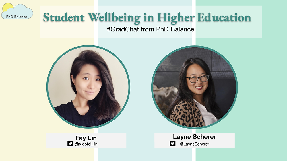 Promotional graphic text reads Student Wellbeing in Higher Education - # Grad Chat from PhD Balance. There is a headshot of our host Fay and this week's special guest Layne Scherer.