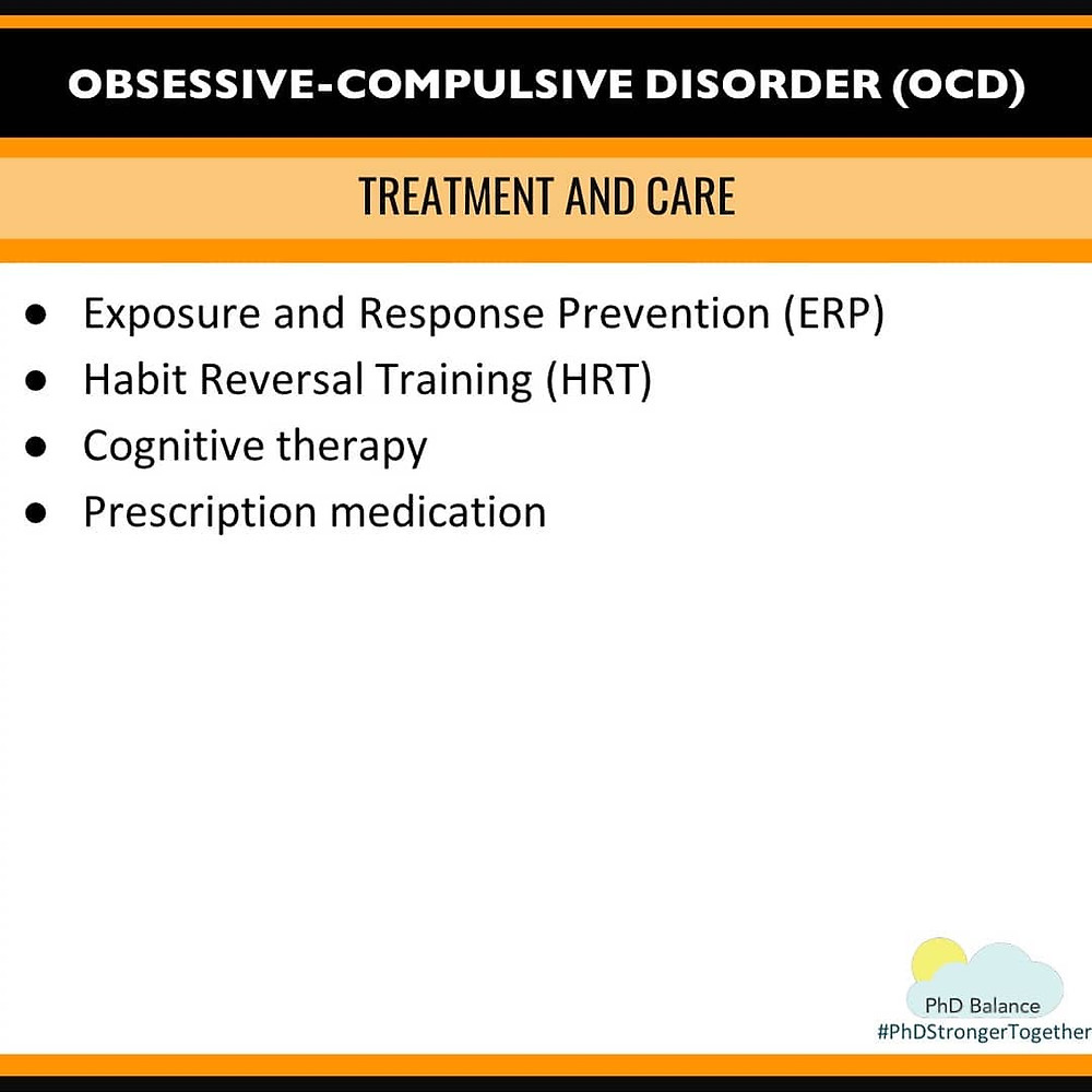 Graphic - Obsessive-Compulsive Disorder (OCD) Treatment and Care. All text in post.