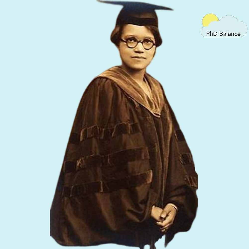 Picture of Dr Sadie Tanner Mossell Alexander wearing academic robes on a light blue background.