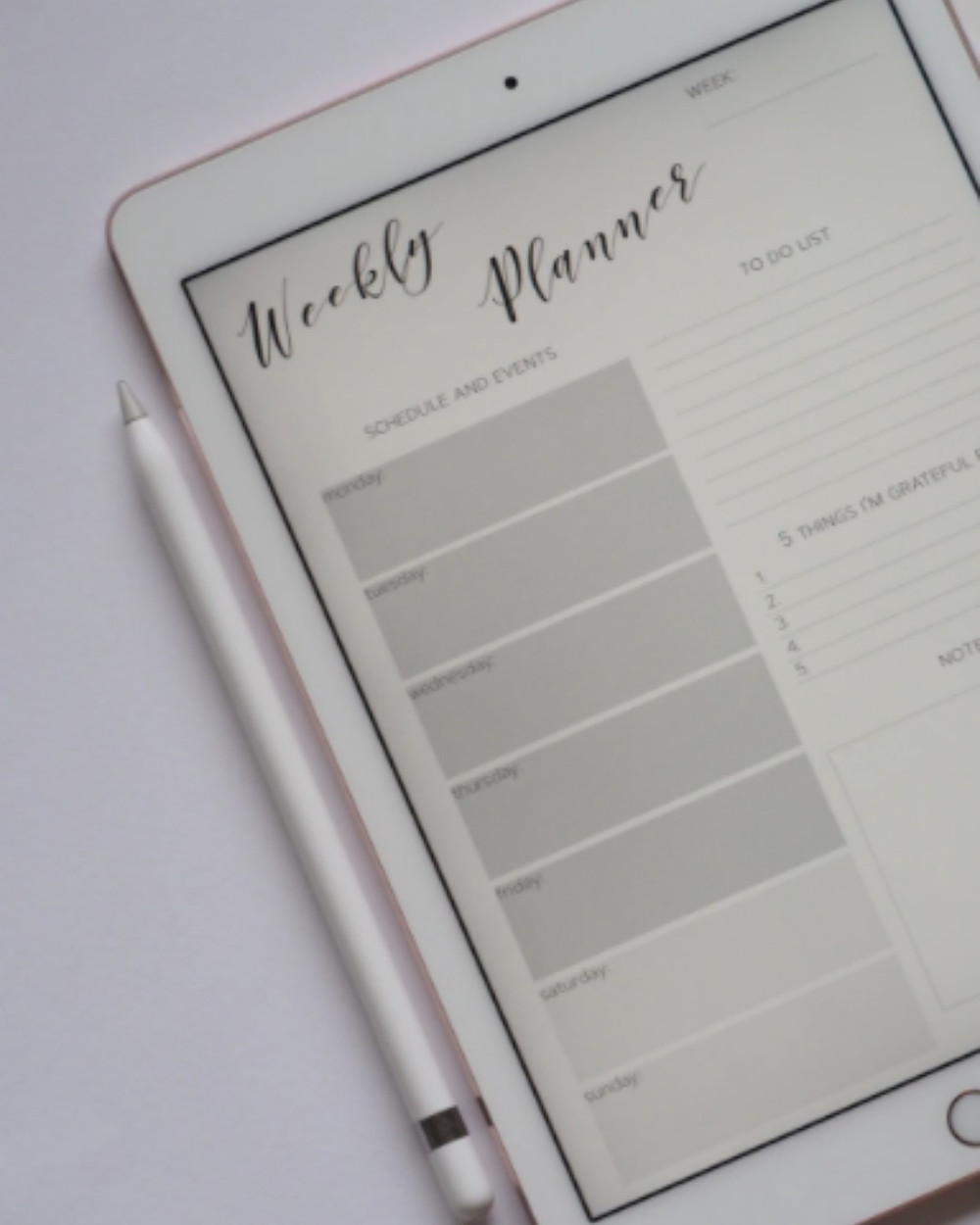 Picture of an ipad with an apple pencil lying beside it. An empty weekly planner page is open on the ipad.
