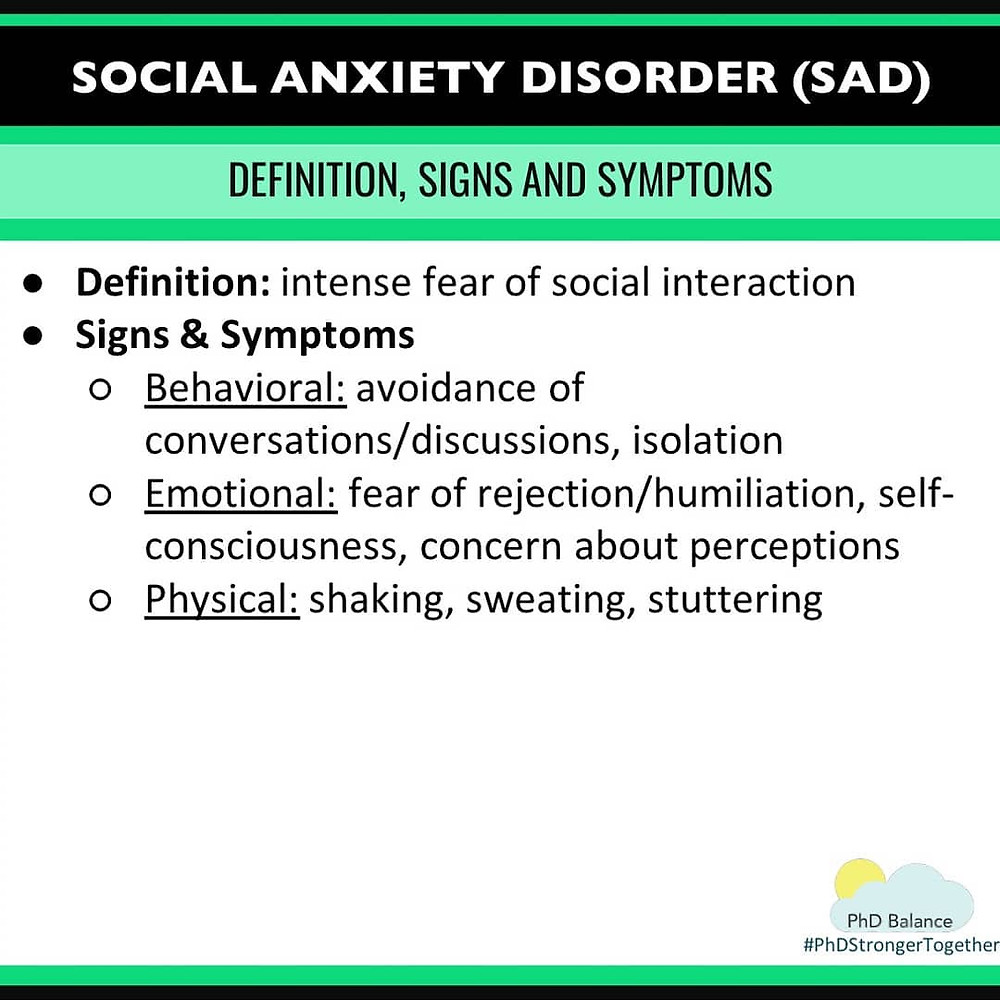Social Anxiety Disorder Definition, Signs and Symptoms. All text in post.
