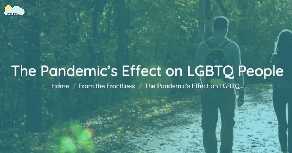Graphic - text reads The Pandemic's Effect on LGBTQ People, Home & front the frontlines. Background image is of two people walking away from the camera on a path with trees on the side of the path and leaves on the ground.